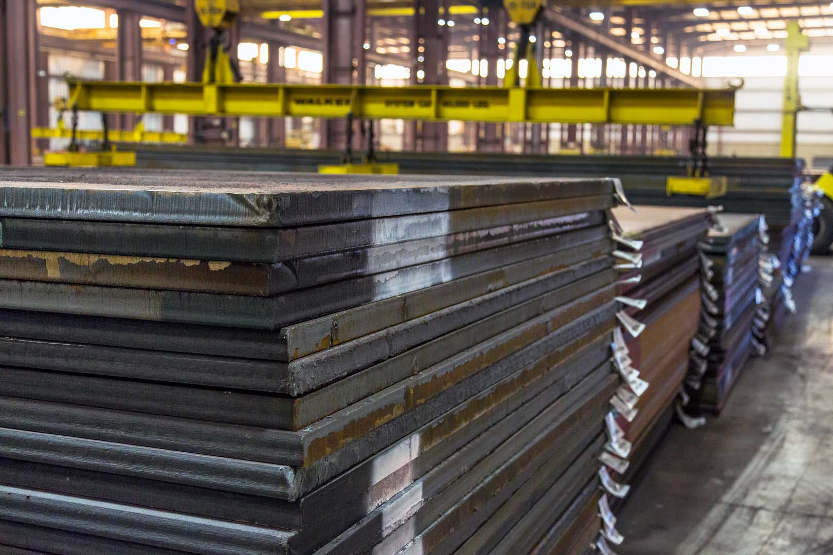 Stack of finished steel plate